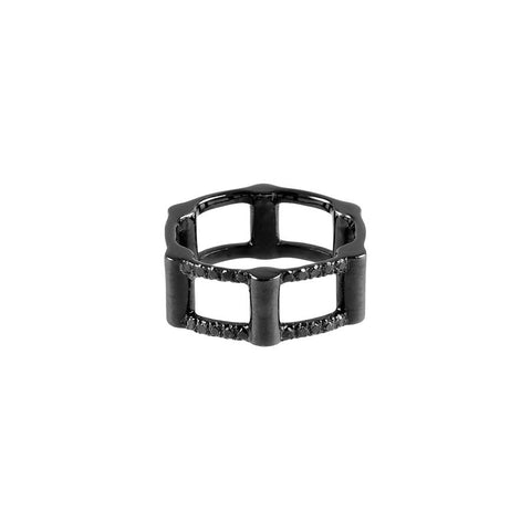 Half Cage Ring | 14K Black Gold with Black Diamonds