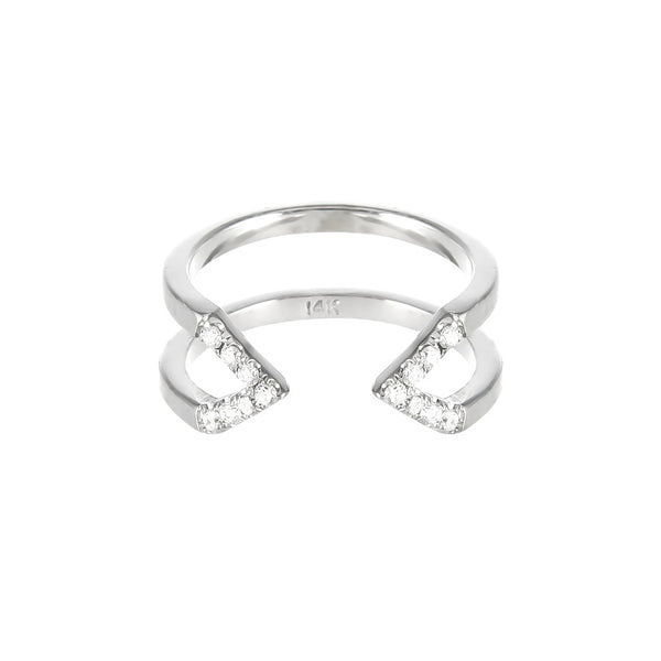 Dagger Ring  | 14K White Gold with White Diamonds