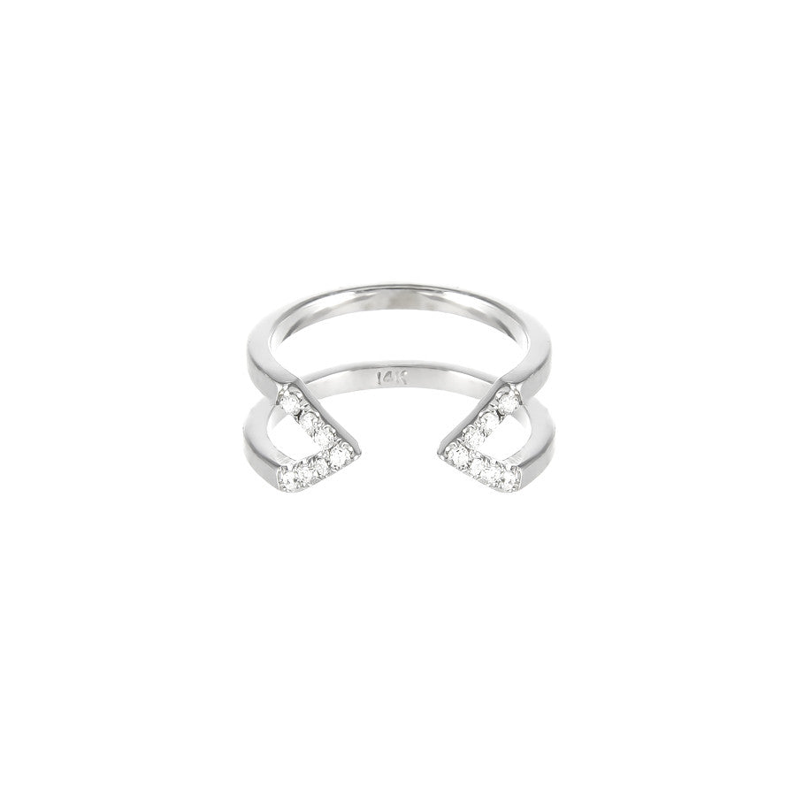 Dagger Ring - Midi  | White Gold - White Diamonds