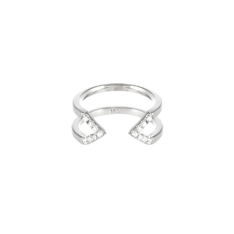 Dagger Ring - Midi  | 14K White Gold - White Diamonds