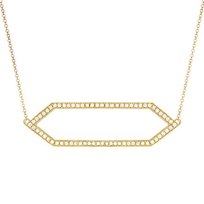 Large Diamond Marquis Necklace | Yellow Gold