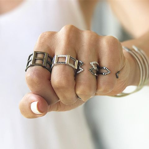 Dagger Ring  | Black Gold with White Diamonds