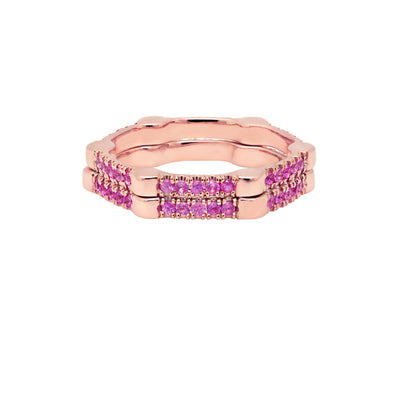 Pink Sapphire Gear Band | Rose Gold