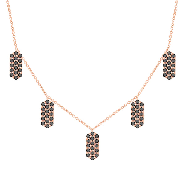 Five Marquis Charm Necklace | Rose Gold with Black Diamonds
