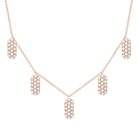 Five Marquis Charm Necklace | Rose Gold with White Diamonds