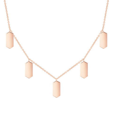 Five Marquis Charm Necklace | Rose Gold