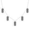 Black Diamond Five Marquis Charm Necklace | White Gold