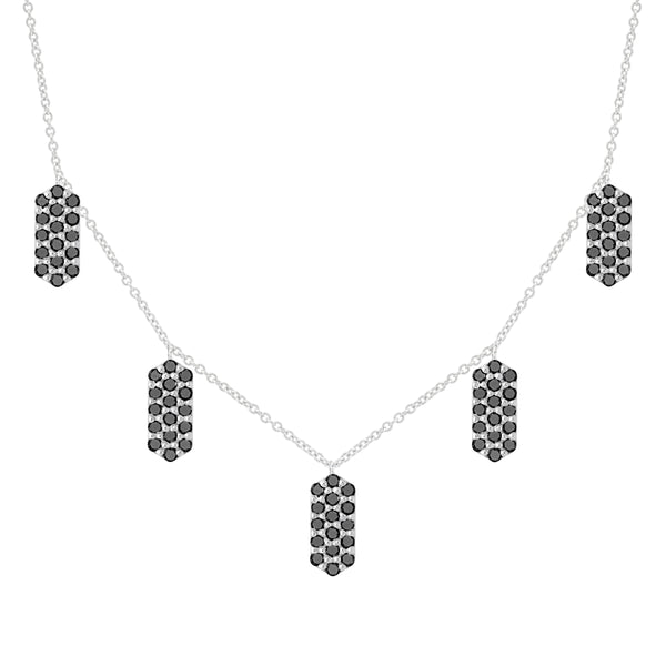 Five Marquis Charm Necklace | White Gold with Black Diamonds