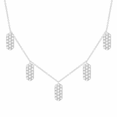 Five Marquis Charm Necklace | White Gold with White Diamonds