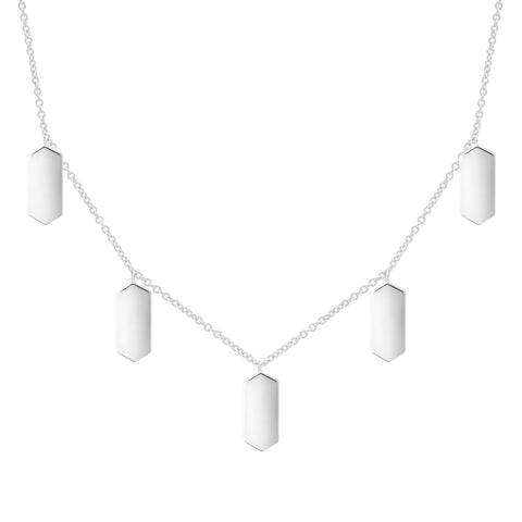 Five Marquis Charm Necklace | White Gold