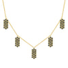 Black Diamond Five Marquis Charm Necklace | Yellow Gold