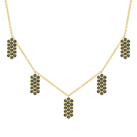 Five Marquis Charm Necklace | Yellow Gold with Black Diamonds