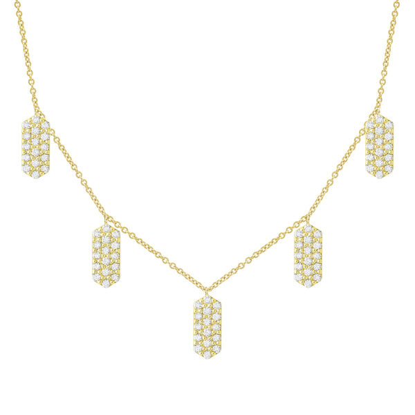 Five Marquis Charm Necklace | Yellow Gold with White Diamonds