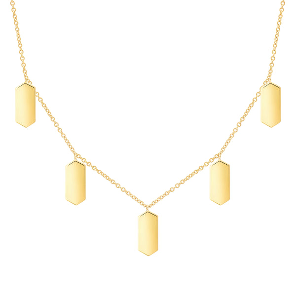 Five Marquis Charm Necklace | Yellow Gold
