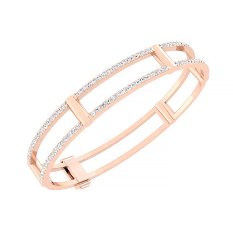 Locking Cage Bracelet | Rose Gold with White Diamonds on Lateral Bars