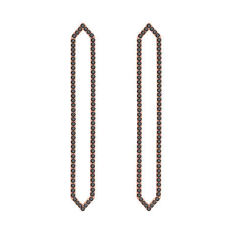 Long Marquis Earrings | Rose Gold with Black Diamonds