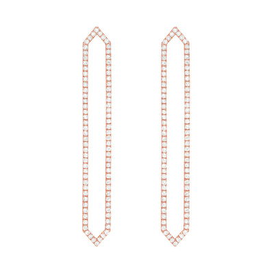 All Diamond Long Marquis Earrings | Rose Gold  Earring Rachel Katz Jewelry