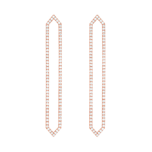Diamond Long Marquis Earrings | 14K Rose Gold