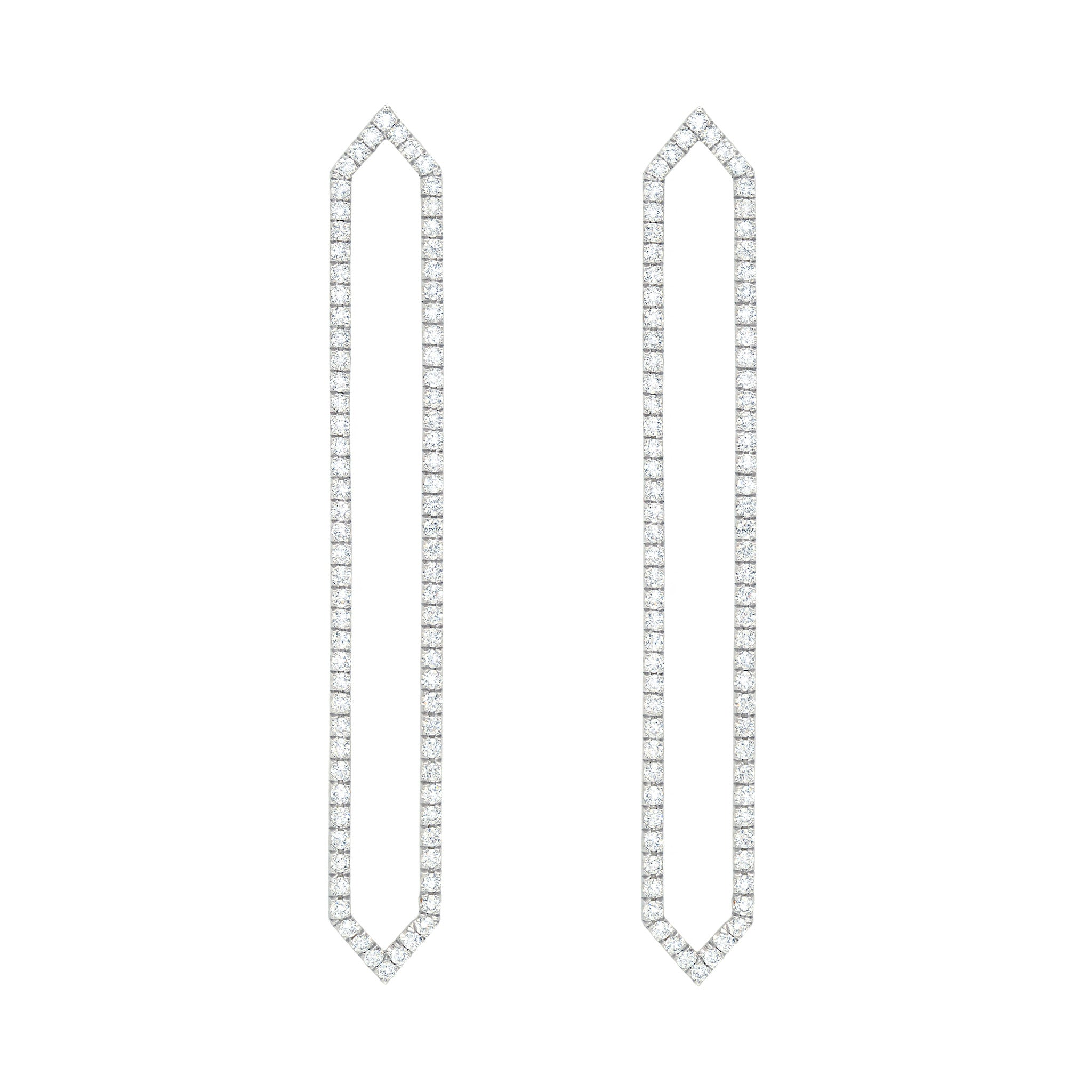 Diamond Long Marquis Earrings | White Gold