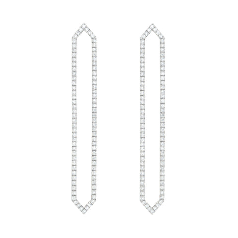 Diamond Long Marquis Earrings | 14K White Gold