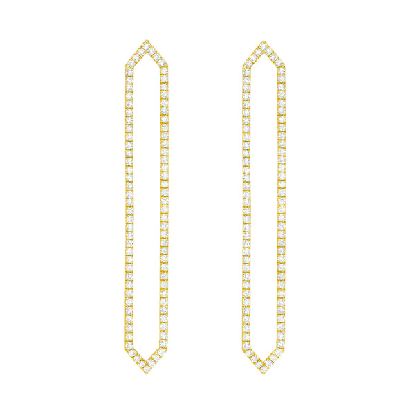 Diamond Long Marquis Earrings | Gold