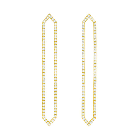 Diamond Long Marquis Earrings | 14K Gold