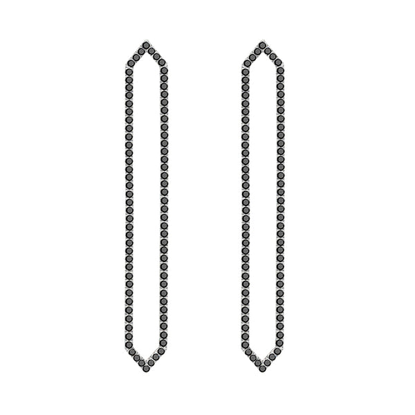 Long Marquis Earrings | White Gold with Black Diamonds