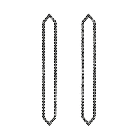 All Black Diamond Long Marquis Earrings | White Gold