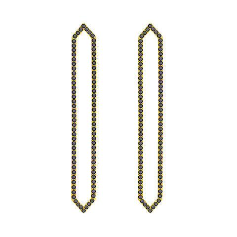 Long Marquis Earrings | Yellow Gold with Black Diamonds