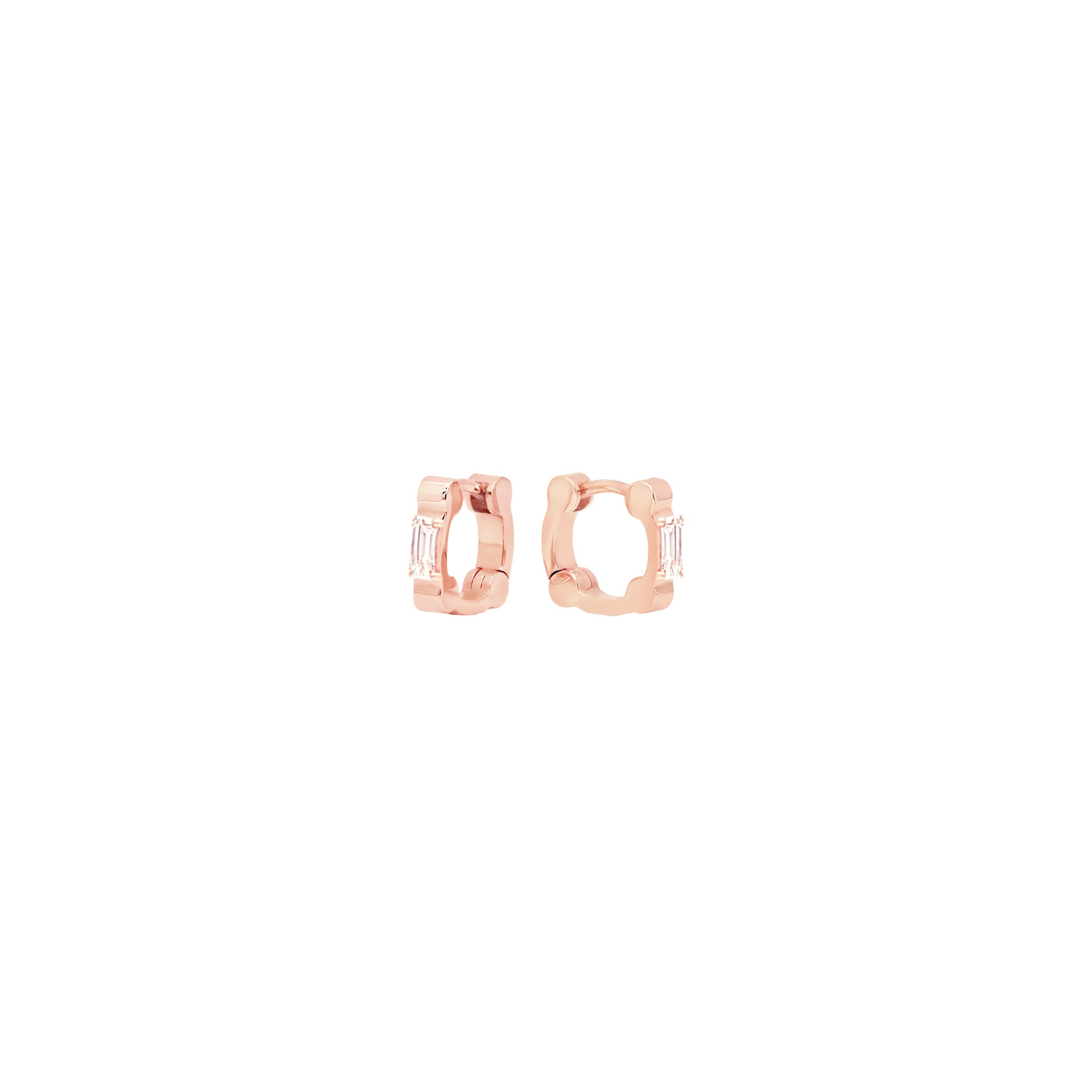 Cage Huggies with Baguette Diamonds | Rose Gold