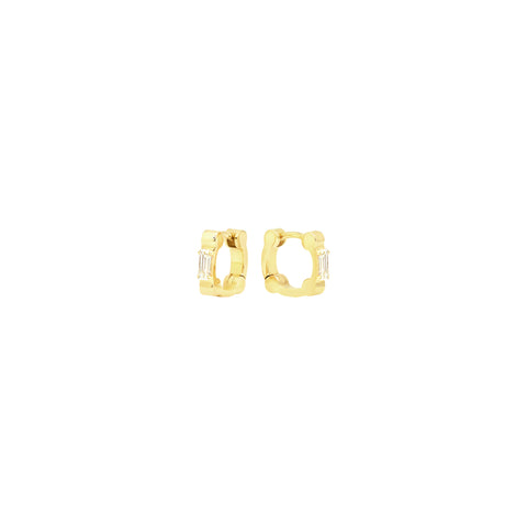 Cage Huggies with Baguette Diamonds | Yellow Gold