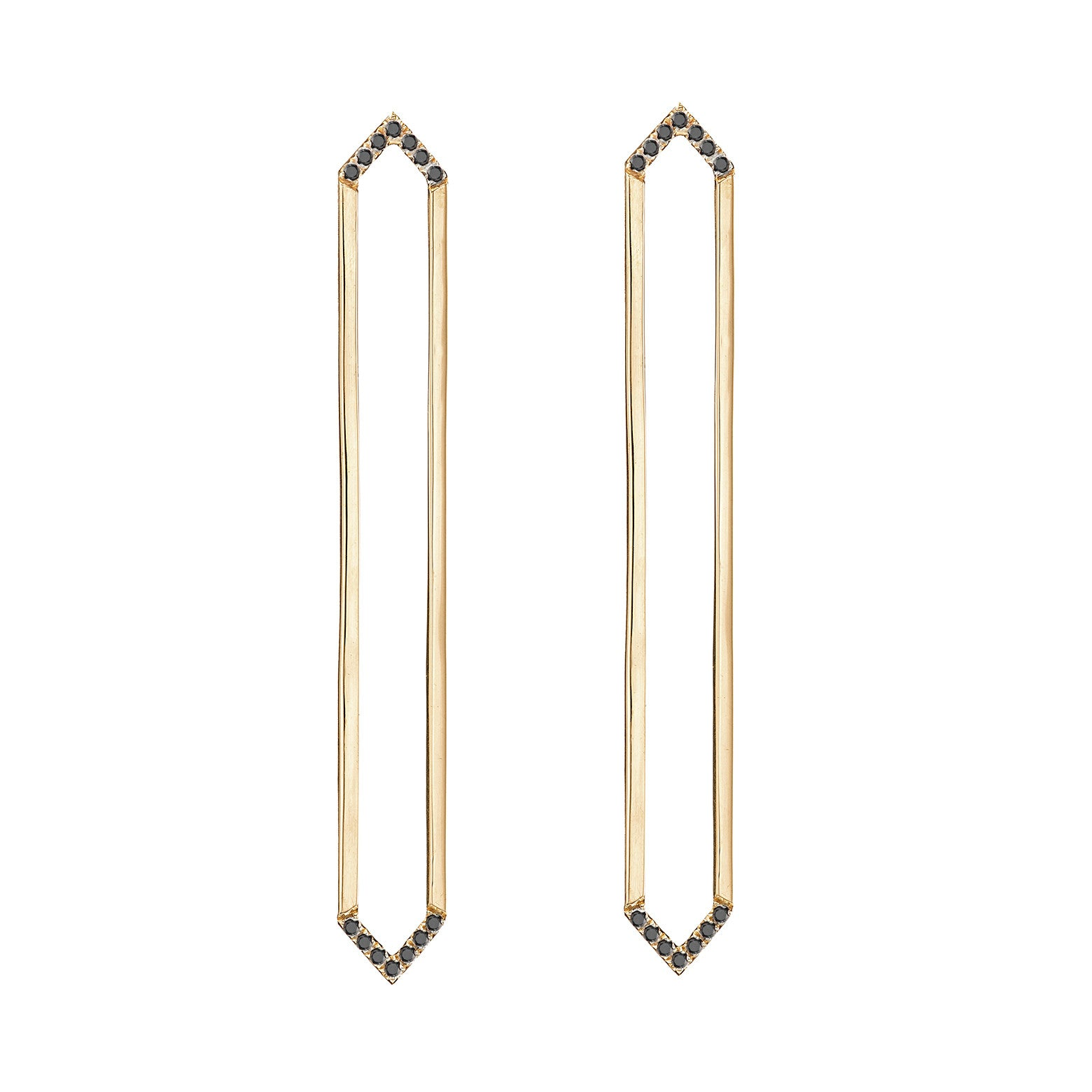 Long Marquis Earrings | 14K Gold with Black Diamonds on Points
