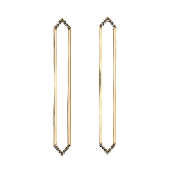 Long Marquis Earrings | Gold with Black Diamonds on Points