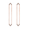 Long Marquis Earrings | Rose Gold with Black Diamond Points