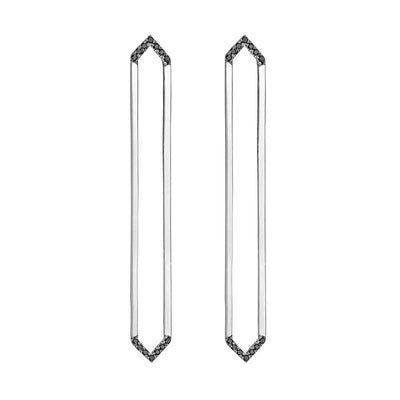 Long Marquis Earrings | White Gold with Black Diamond Points