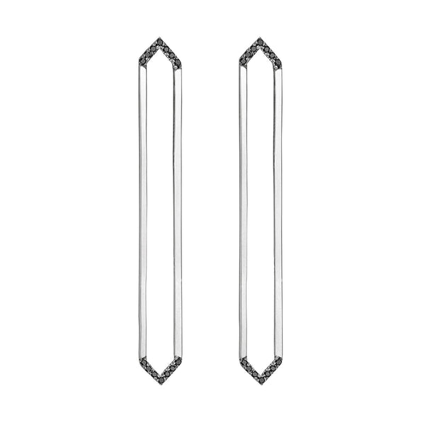 Long Marquis Earrings | White Gold with Black Diamonds on Points