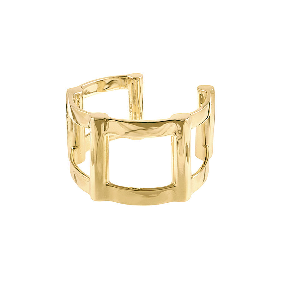 Half Cage Cuff | Gold Plated Brass