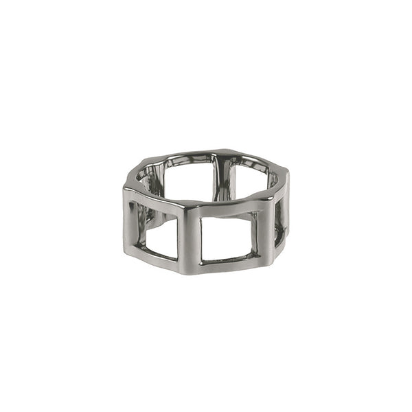 Half Cage Ring | 14K Black Gold