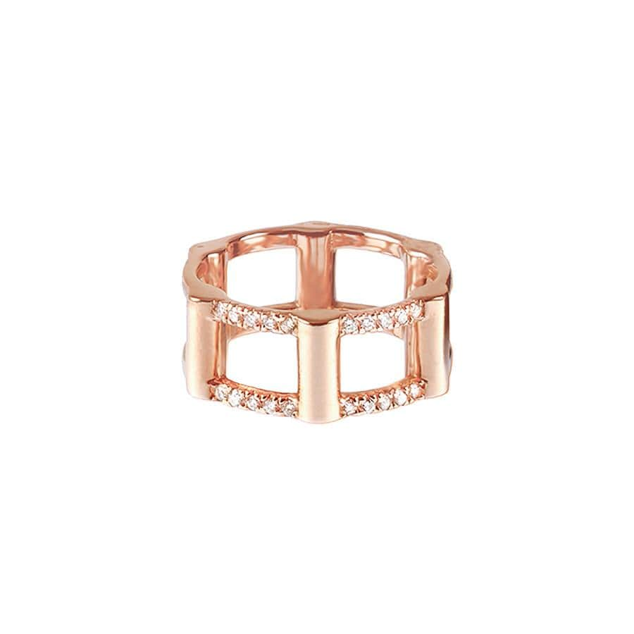 Half Cage Ring | Rose Gold with Diamonds