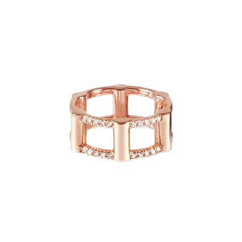Half Cage Ring | 14K Rose Gold with Diamonds