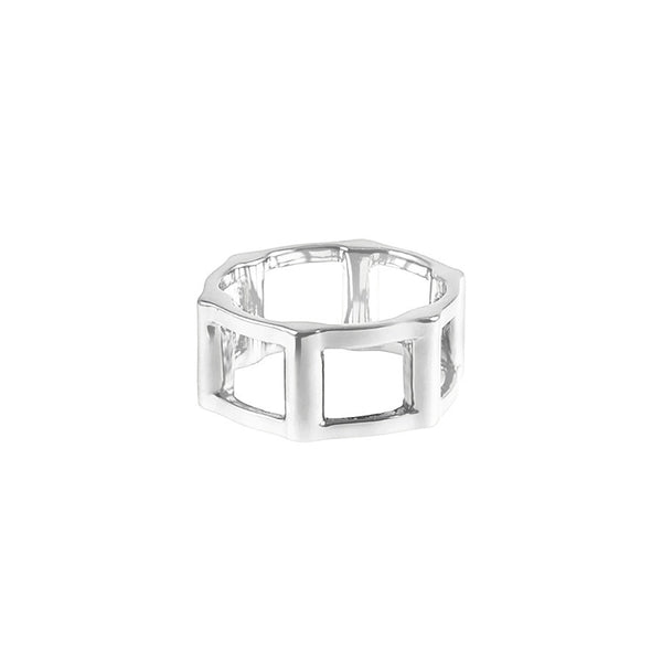 Half Cage Ring | 14K White Gold