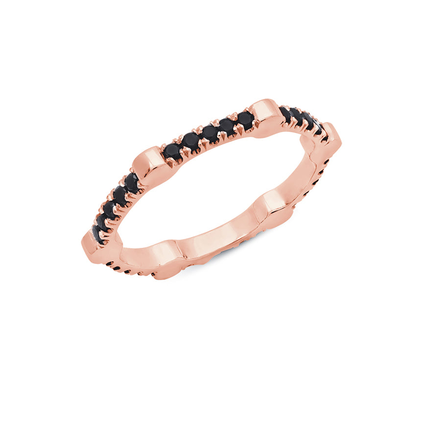 Cage Band | Rose Gold with Black Diamonds