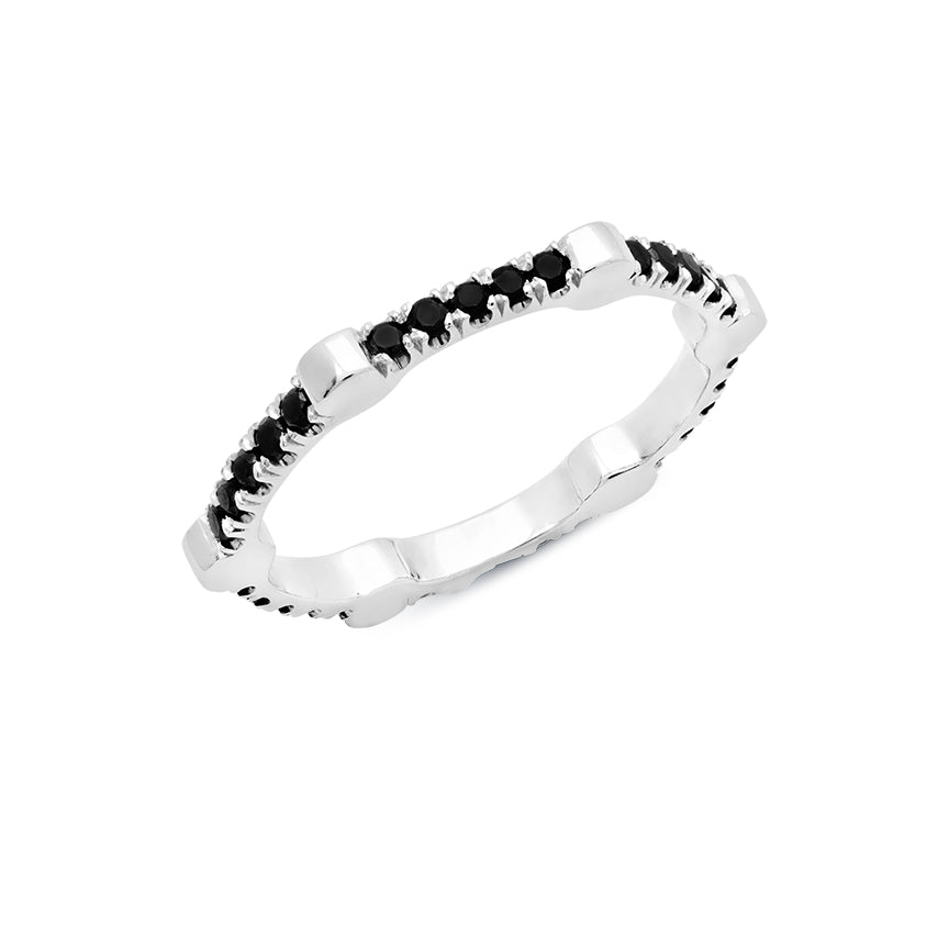 Cage Band | White Gold with Black Diamonds