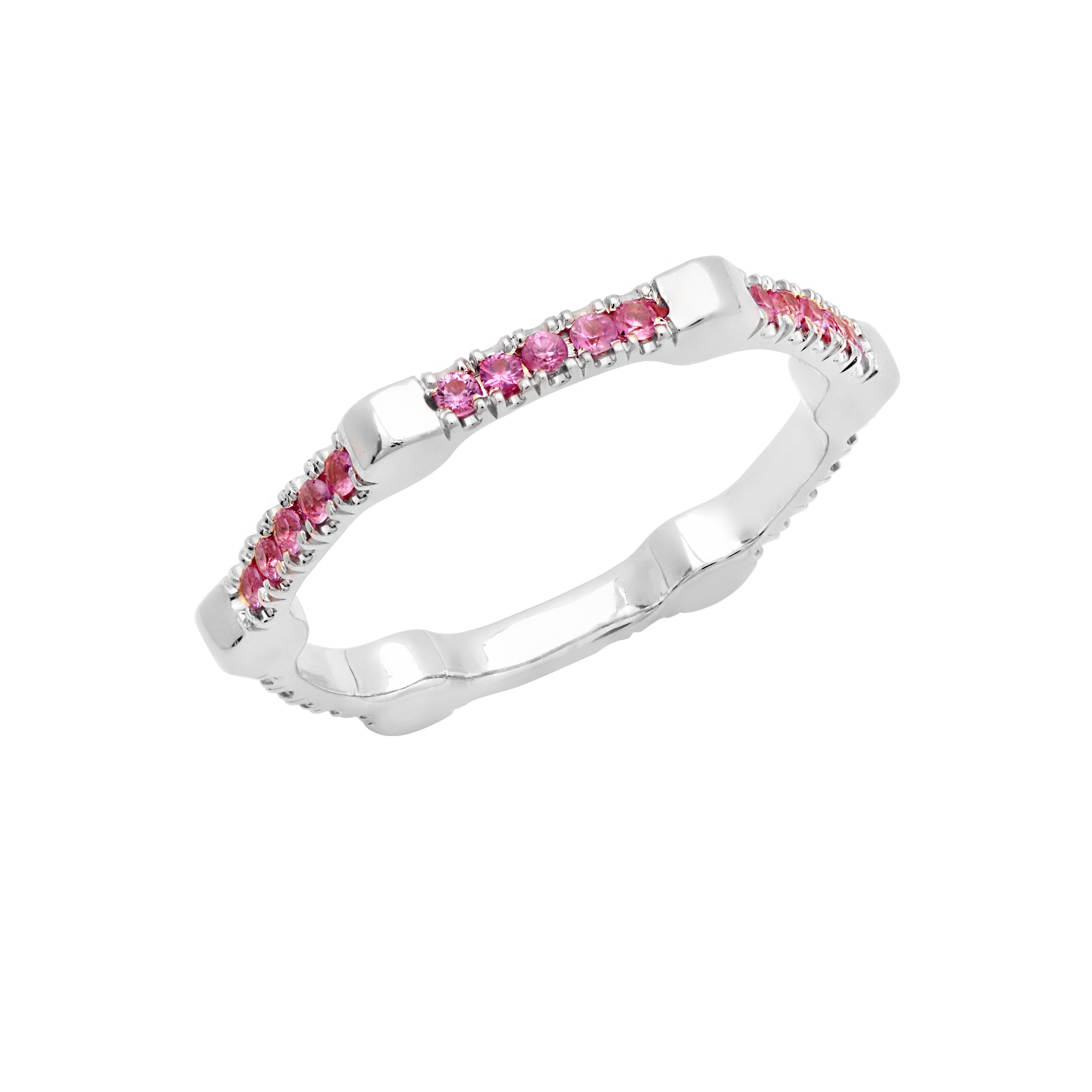 Cage Band | White Gold with Pink Sapphires