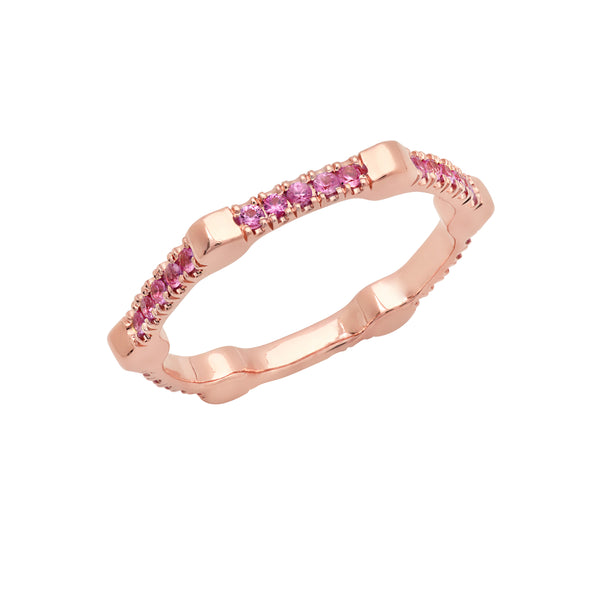 Cage Band | Rose Gold with Pink Sapphires on All Sides