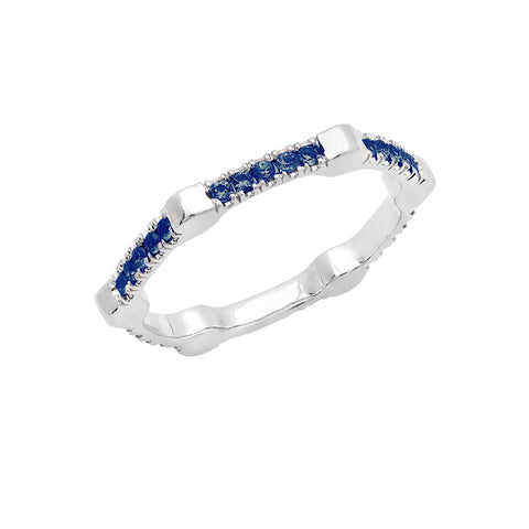 Cage Band | White Gold with Blue Sapphires