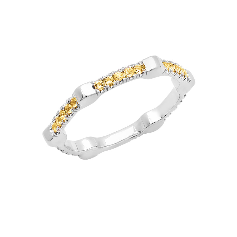 Cage Band | White Gold with Yellow Sapphires