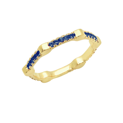 Cage Band | Gold with Blue Sapphires