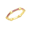 Pink Sapphire Gear Band | Yellow Gold