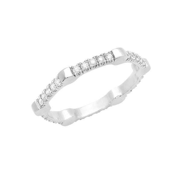Cage Band | White Gold with White Diamonds